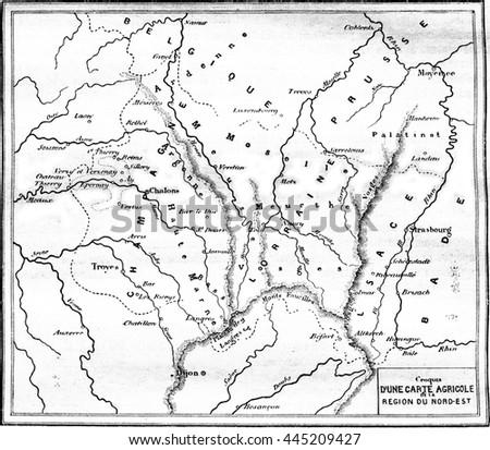 Agricultural Map Northeast Region Vintage Engraved Stock ...