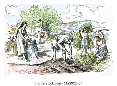 Agricultural work in the Iron Age, vintage engraved illustration. From Natural Creation and Living Beings.