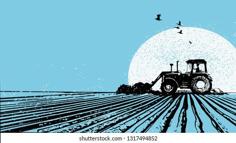 Agriculture. Illustration of a tractor on a field in front of a sun in blue colours and grungy textures
