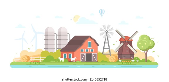 Agriculture - modern flat design style illustration on white background. A composition with a village, a barn, trees, pond, windmill, silage towers, farm animals, mill, haystacks