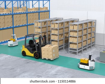 AGV robots, electric forklift with cardboard boxes in modern distribution center. 3D rendering image.