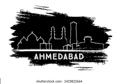 Ahmedabad India City Skyline Silhouette. Hand Drawn Sketch. Business Travel and Tourism Concept with Historic Architecture. Ahmedabad Cityscape with Landmarks.