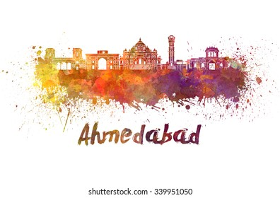 Ahmedabad skyline in watercolor splatters with clipping path