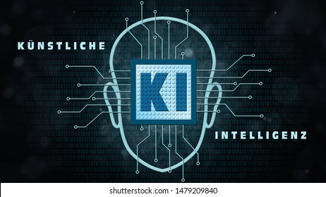 AI - Artificial Intelligence background (in german KI - Kuenstliche Intelligenz Hintergrund) - Abstract concept of cyber technology and automation - 3D rendering