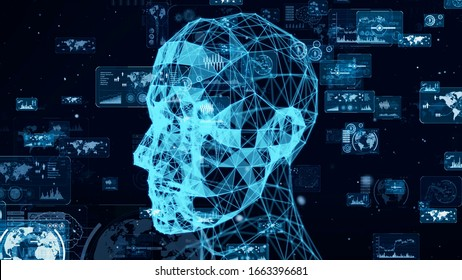 AI (Artificial Intelligence) concept. Communication network. 3D rendering.