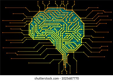 AI (artificial intelligence) concept, machine learning, nanotechnologies and another modern technologies concepts, Industry 4.0 concept