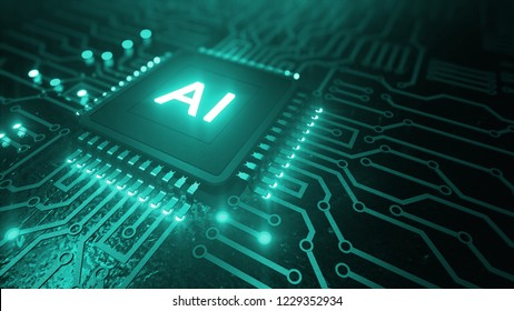 AI (artificial intelligence) concept, machine learning, Central Computer Processors CPU concept, 3d render of computer chip over circuit background with AI sign
