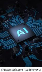 AI, Artificial Intelligence concept,3d rendering,conceptual image.