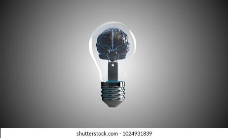 AI artificial intelligence deep learning brain light bulb 3D illustration