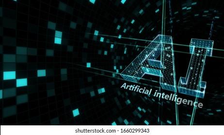 AI artificial intelligence digital network computer technology 3D illustration.