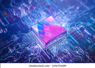 AI. Circuit board. Technology background. Central Computer Processors CPU concept. Motherboard digital chip. Tech science background. Integrated communication processor. 3D illustration