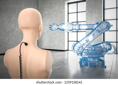 AI controlling virtual industrial robot automation of manual processes to save operating costs future of industry 4.0 3D illustration