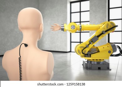 AI controlling yellow industrial robot automation of manual processes to save operating costs future of industry 4.0 3D illustration