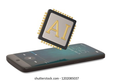 AI cpu with smart phone isolated on white background 3D illustration.
