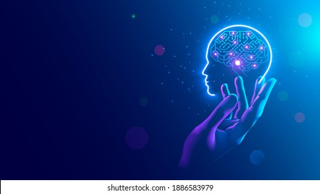 AI. Electronic brain. Neon Silhouette of human head with artificial intelligence hanging over palm hand. Cybernetic artificial neural network. Electronic mind. Neuronet, deep machine learning concept.
