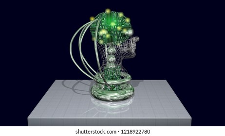 AI head, robotic artificial intelligence machine face.Glowing LEDs. Side view. 3d render