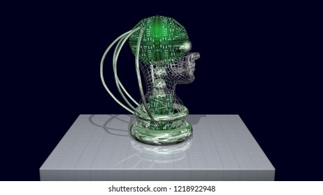AI head, robotic artificial intelligence machine face. Side view. 3d render