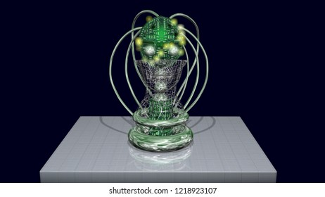 AI head, robotic artificial intelligence machine face.Glowing lights, yellow LEDs.Front view. 3d render