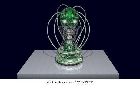 AI head, robotic artificial intelligence machine face.Front view.  3d render