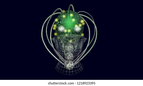 AI head, robotic artificial intelligence machine face.Glowing lights, LEDs. Front view. 3d render