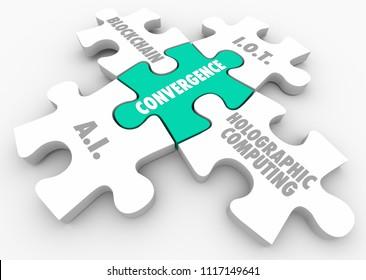 AI IoT Holographic Computing Blockchain Convergence Puzzle 3d Render Illustration