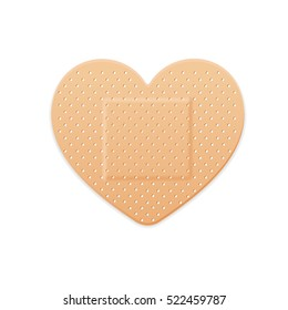 Aid Band Plaster Strip Medical Patch Heart. illustration