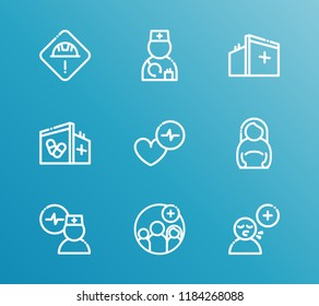 Aid family icon set and pregnant woman with aid family, doctor cardiogram and cardiac care. Pregnancy related aid family icon  for web UI logo design.