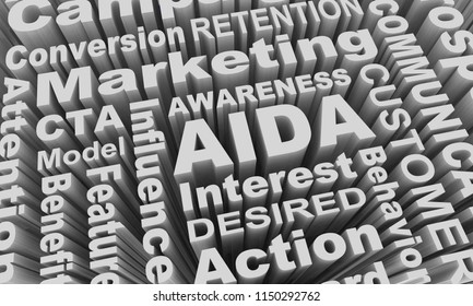AIDA Awareness Interest Desire Action Marketing Theory Word Collage 3d Illustration