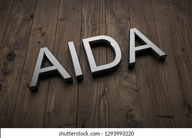 AIDA - Text on table. 3d rendering