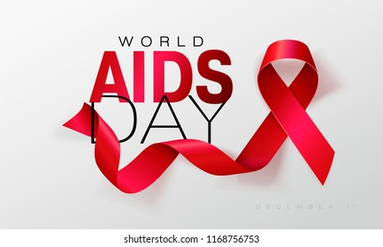 Aids Awareness. World Aids Day concept. Red Ribbon.  illustration