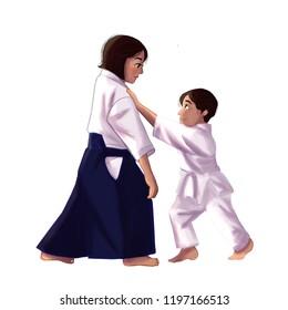 Aikido woman and child