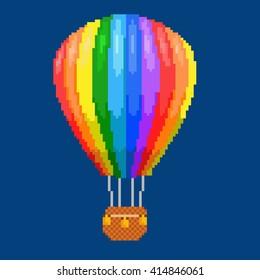 Air balloon (aerostat). Color pixel art illustration. Airline service