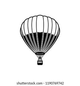 Air balloon illustration on white background. Design element for logo, label, emblem, sign, poster.