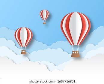 Air balloon paper cut. Colourful flying balloons in blue sky with white clouds. Airship travel 3d origami cartoon graphics creative festival floating background