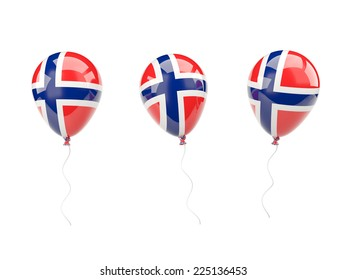 Air balloons with flag of norway isolated on white