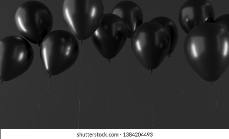 fa13236ca47 Air balloons on dark background. Horizontal banner for black friday,  advertising of goods and