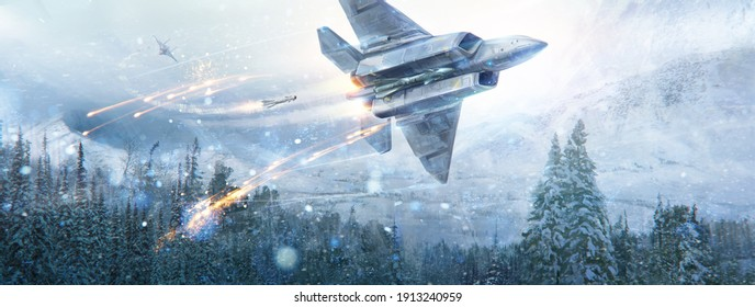 Air battle of two fantastic aircraft in the sky in the in winter mountain landscape. Digital paint, raster illustration.
