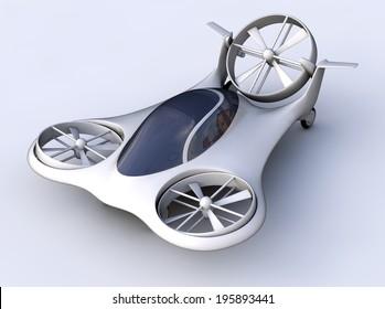 Air car isolated, 3d concept