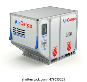 Air cargo container with metal pallet on white background - 3D illustration