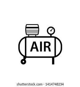 Air compressor outline icon. Clipart image isolated on white background