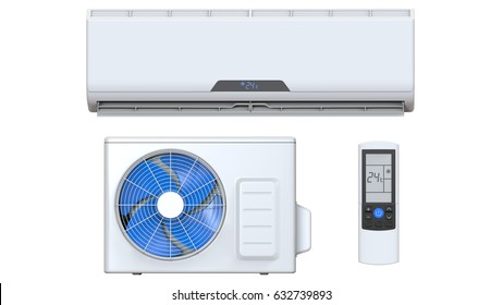Air condenser, conditioner system set with remote control and external unit. 3D render, isolated on white background.
