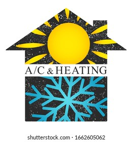 Air conditioner house sun and snowflake cooling and heating illustration for business