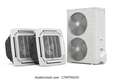 Air conditioner system. Ceiling Cassette Units with Outdoor Compressor Multi-Zone Unit. 3D rendering isolated on white background