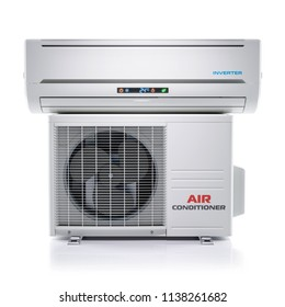 Air conditioner unit isolated on white background 3d render