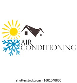 Air conditioning and home heating sun and snowflake symbol for business
