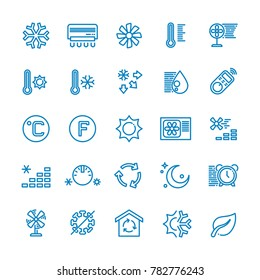 Air conditioning line icons. Temperature, humidity, drying, cooling and heating pictograms. Climate conditioner system equipment illustration