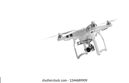 Air Drone Dron Flying with action camera. Isolated on White Background. 3D rendering