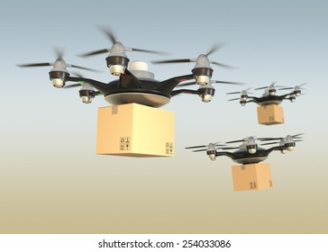 Air drones carrying cardboard in sunset sky