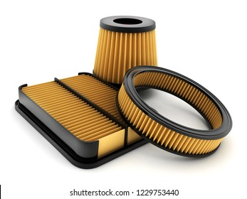 Air filter car on white background. 3d illustration