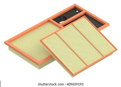 air filters for car, 3D rendering isolated on white background